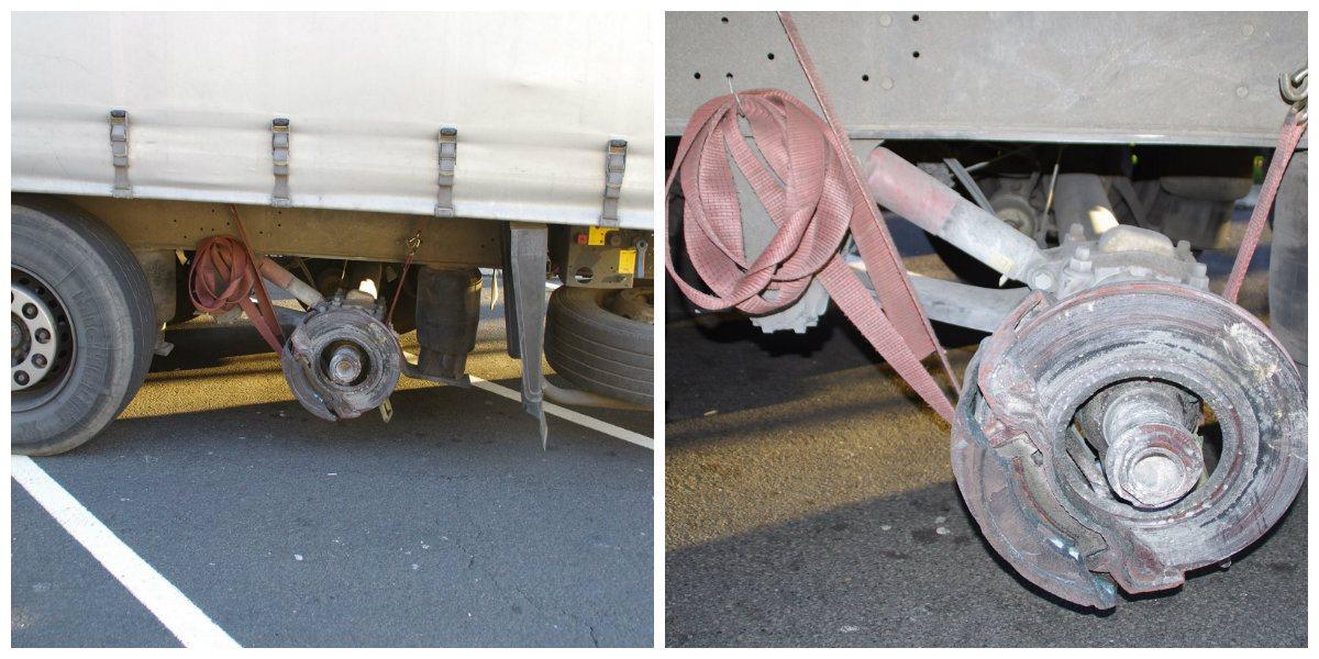 Voznik tovornjaka po avtocesti vozil  brez zadnjega levega kolesa.