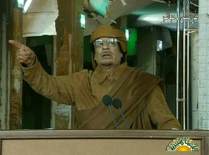 Gadafi kaže na