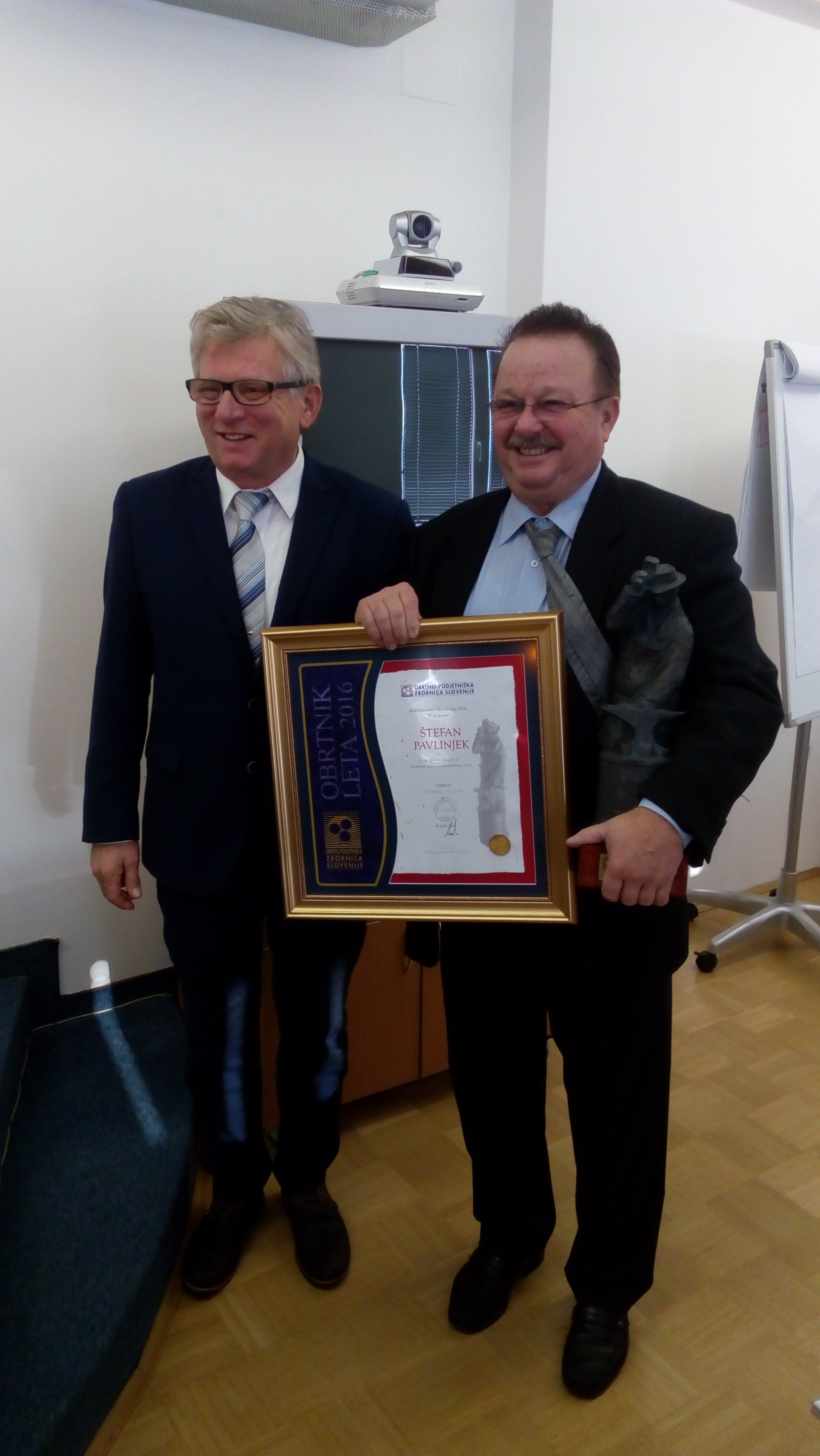 Štefanu Pavlinjeku, Obrtniku leta 2016, so pripravili sprejem na OOZ Murska Sobota