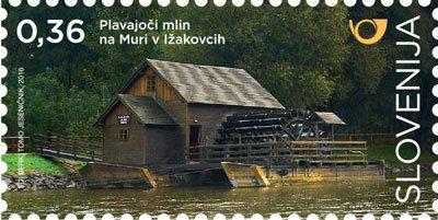 Plavajoči mlin na Muri v Ižakovcih na priložnostnih znamkah; foto:Pošta Slovenije