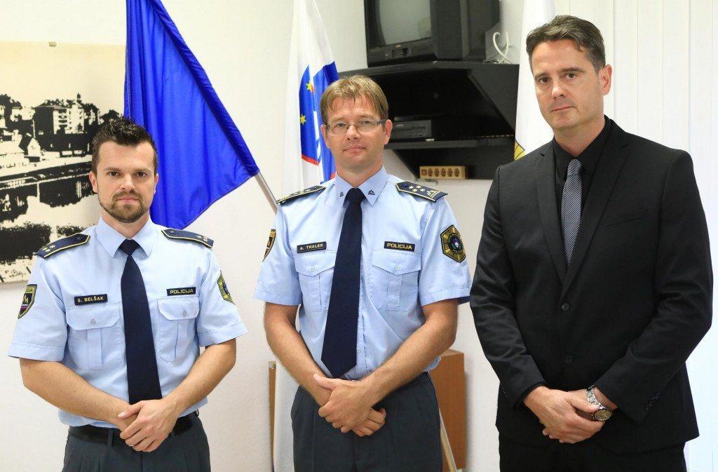 Nov direktor Aleksander Thaler, vodja kriminalistov Beno Meglič in komandir Policijske postaje II Simon Belšak.